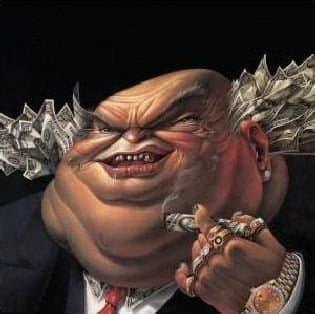 """Günümüz """"kalantor""""u, temsili. (Görsel: Warrant adlı grubun """"Dirty rotten filthy stinking rich"""" yani """"Kirli çürük leş kokulu zengin"""" adlı albümünün kapak görseli (1989)."""
