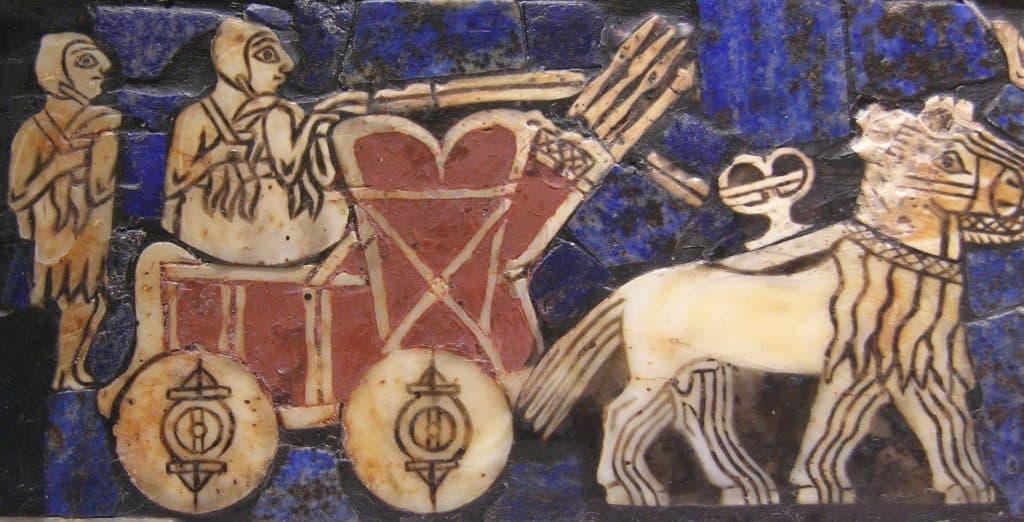 Sümerlere ait bir savaş arabasının tasvir edildiği bu görsel, M.Ö. 2500 yılından kalmış. (görsel: Wikipedia)